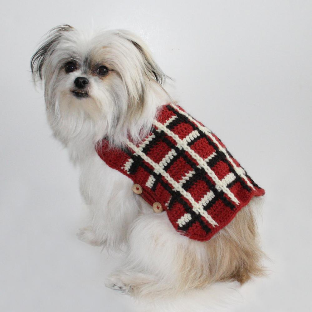 Plaid Dog Sweater photo - 2