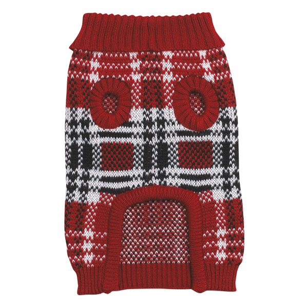 Red Plaid Dog Sweater photo - 1