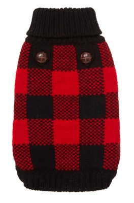 Red Plaid Dog Sweater photo - 2