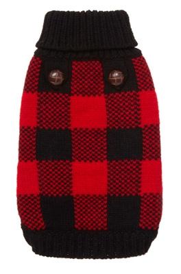 Red Plaid Dog Sweater photo - 2